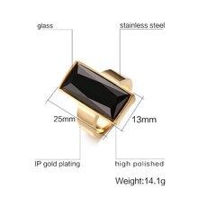 Bagues pour femmes en acier inoxydable couleur or bague rectangulaire en verre noir cristal pour femmes bijoux à la mode, cadeau meilleur ami