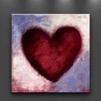Moderne Dekoration Rotes Herz Kunst Ölgemälde auf Leinwand Handgemaltes Abstraktes Acryl Gemälde Handmade Wandkunst Bild