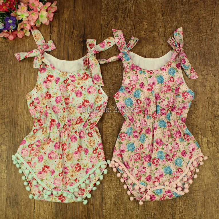 b403315d1 2017 new vintage floral cotton baby romper newborn baby girls pompom ...