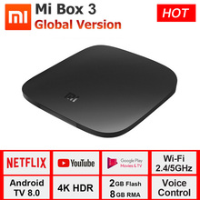 Global Version Xiaomi TV Box 3 Smart Android 8.0 4K 60fps Amlogic S905X Cortex-A53 Quad Core Set Top Box 2GB 8GB Xiaomi Mi Box 3 недорого