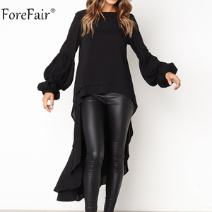 Forefair Ruffles Loose Long Sleeve Blouse Women 2018 Autumn Lantern Sleeve Chiffon Casual Shirt Plus Size Womens Blouse