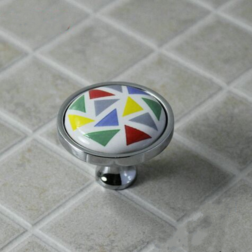 mosaic ceramic knobs hand painted porcelain drawer cabinet pull knob silver chrome dresser knob modern fashion furniture handle