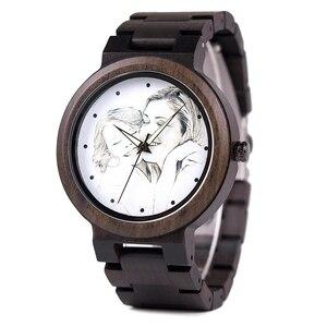 Image 3 - カスタムブランド自身の写真腕時計ユニークな竹木革因果石英男性はカスタマイズされたロゴ誕生日ギフト