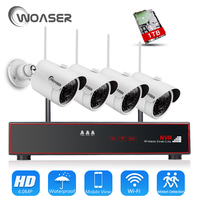 WOASER Plug And Play 4 0MP H 265 4CH Wireless NVR Kit P2P HD Outdoor IR