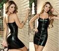 Chegada nova plus size sexy lingerie de couro do falso das mulheres lantejoulas virilha aberta luru sexy slim boate fantasias eróticas
