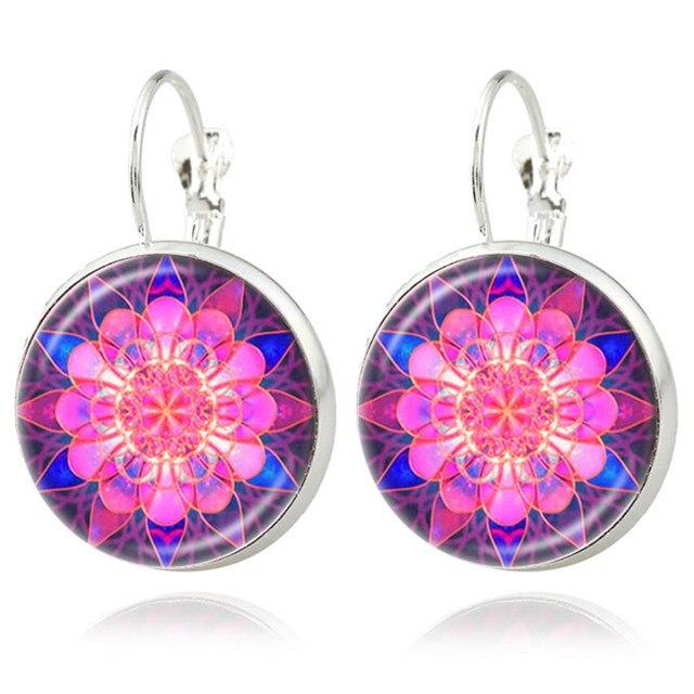 Silver Classic Lotus Mandala Jewelry Earring Nail Henna Om Symbol Zen Buddhism Retro Handmade Yoga Pending For Mom Gift PT003