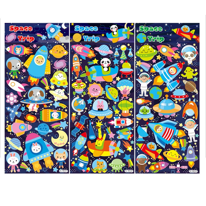 4 pcs/Lot Space trip sticker Cartoon animal Star travel stickers for kids gift Diary book stickers Decoration Stationery A6933