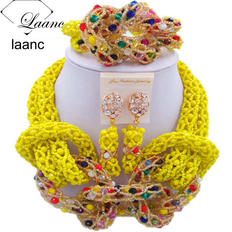 Laanc Yellow and Multicolour Crystal African Beads Jewelry Sets for Women Nigerian Necklace Jewellery Set AL408