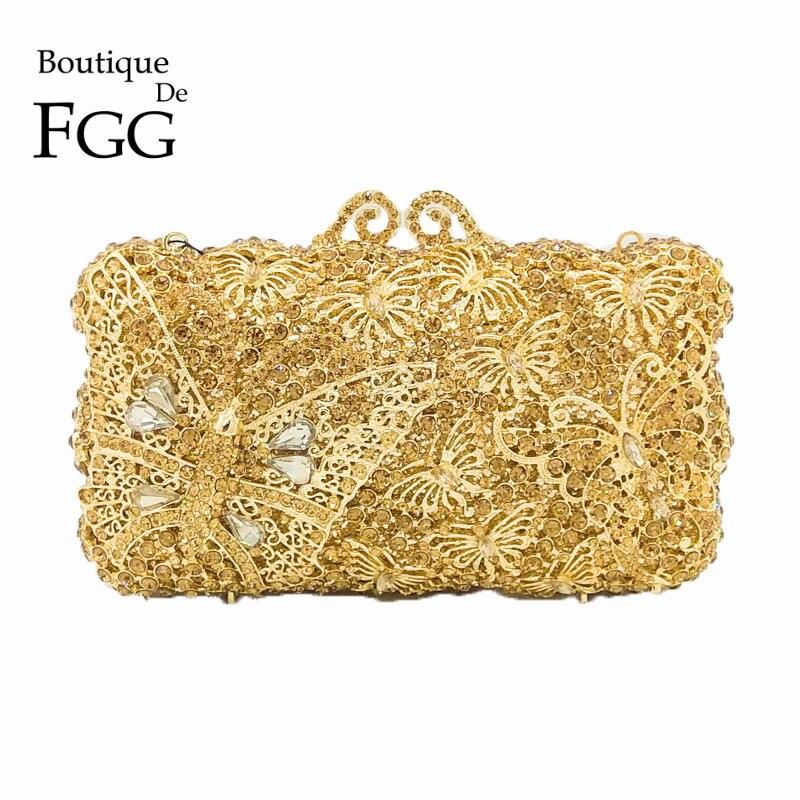 Boutique De FGG Gold Diamond Butterfly Minaudiere Women Crystal Clutches Purse Evening Bag Bridal Wedding  Dinner Clutch Handbag