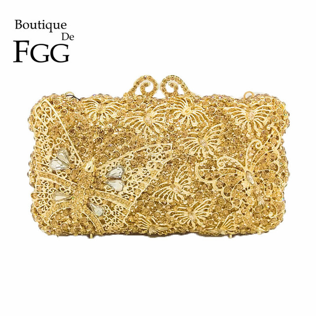 Boutique De Fgg Gold Diamond Erfly Minaure Women Crystal Clutches Purse Evening Bag Bridal Wedding Dinner