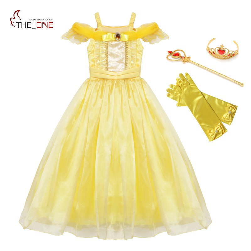 MUABABY Girls Belle Dress up Summer Straps Beaut and The Beast Princess Costume Children Halloween Cosplay Party Fantasy Clothes