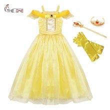 MUABABY yaz kızlar Belle elbise çocuklar Ruffles güzellik ve Beast prenses kostüm çocuk parti fantezi elbise