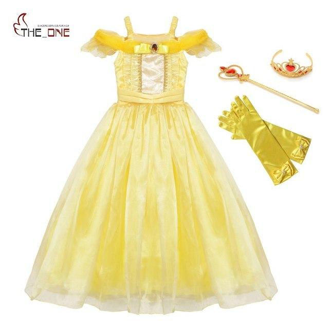 Muababy Zomer Meisjes Belle Jurk Up Kids Ruches Schoonheid En Het Beest Prinses Kostuum Kinderen Party Fantasy Kleding