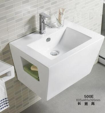 Square Wall Sink Lavabo Wash Basin Ceramic Wall Hang