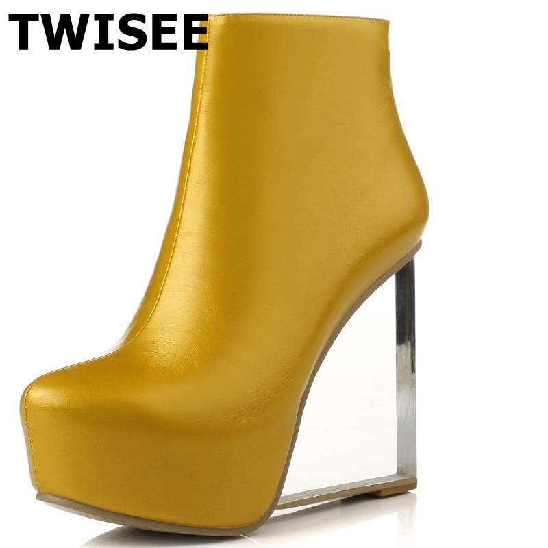 Wedges Round Toe woman party shoes Full Grain Leather women shoes high heel Spring/Autumn fashion casual platform ankle boots genuine cow leather spring shoes wedges soft outsole womens casual platform shoes high heel round toe handmade shoes for women