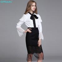 QYFCIOUFU High Quality Women 2pcs Skirt Set 2017 Vintage Bow Flare Sleeve White Blouse Designer Black