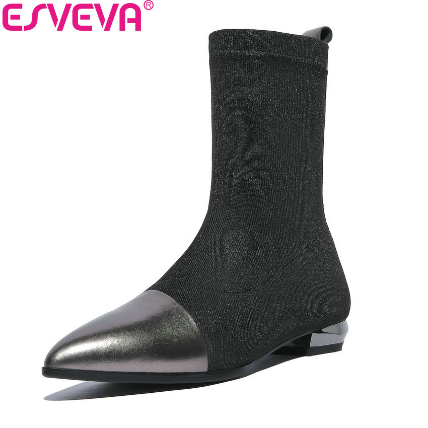 ESVEVA 2019 Women Boots Square Heels Mid-calf Boots Spring Autumn Shoes Pointed Toe Slip on Low Heels Boots Woman Size 34-42 spring autumn women thick high heel mid calf boots platform woman short boots high heels shoes botas plus size 34 40 41 42 43