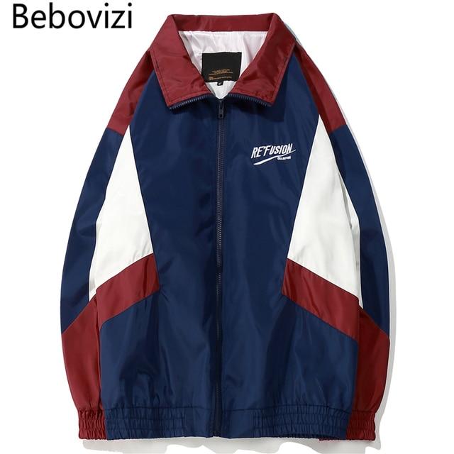 8d5134faebc1 Bebovizi Brand Vintage Japanese Style Color Block Patchwork Track Jackets  Embroidery Loose Windbreaker Hip Hop Streetwear