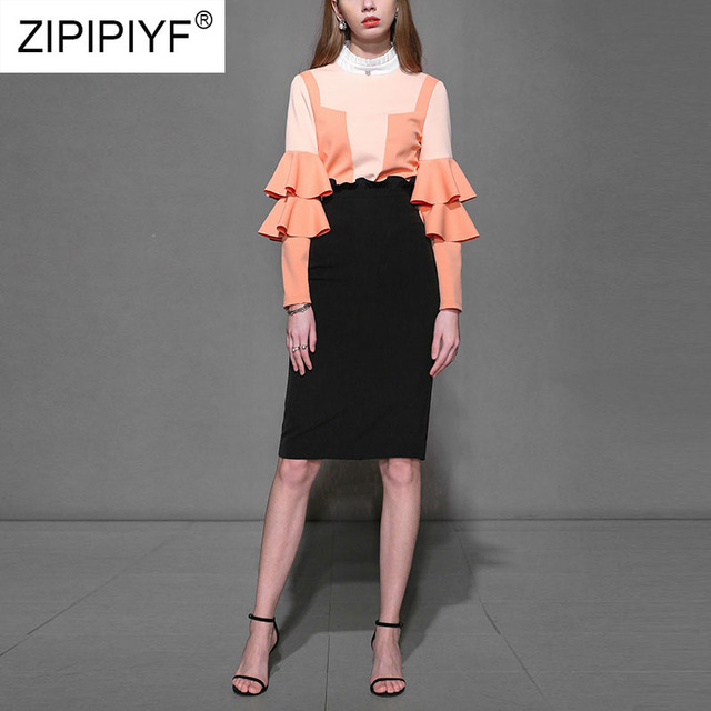 2 Pieces Women Sets Office Lady Long Sleeve Blouses Tops Bodycon Pencil Skirt Elegant Solid Female Fashion Two Pieces Suits K613