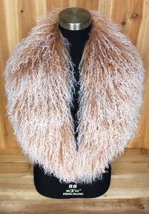 Image 1 - Col en fourrure mongole, écharpe, châle, écharpe, châle, en véritable laine mongole, XX Large, en solde