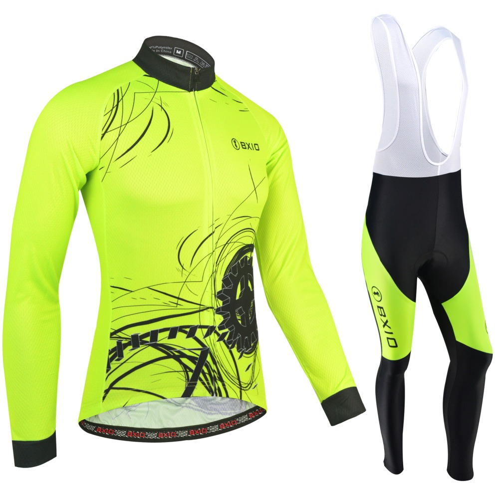 Genuine Old Brand BXIO Winter Cycling Clothing Fluorescent Yellow Thermal Fleece Pro Team Bicycle Jersey Set Ropa Ciclismo 183 genuine bxio winter thermal fleece blue cycling clothing pro team long sleeve bikes clothes uniformes de ciclismo hombre bx 069