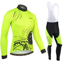 Jersey-Set Cycling-Clothing Bicycle Fluorescent Pro-Team Ropa-Ciclismo Winter Yellow