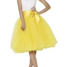 Spring Summer Style Yellow Tulle Skirts Womens Adult Midi Tutu With Sash Faldas Saias Femininas