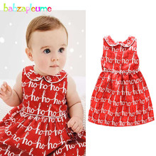 3-24Months/Summer Baby Girls Birthday Dresses Cute Red Sleeveless Infant Princess Party Dress Christmas Newborn Clothing BC1556