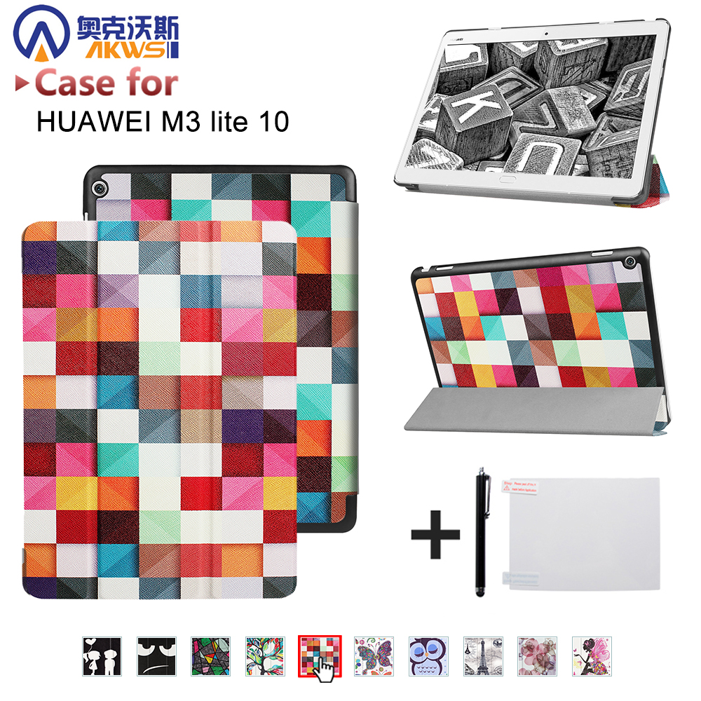 Folio stand PU leather cover case for 2017 10.1'' Huawei MediaPad M3 Lite 10 BAH-W09 BAH-AL00 10 tablet+free gift ultra slim magnetic stand leather case cover for huawei mediapad m3 lite 8 0 cpn w09 cpn al00 8tablet case with auto sleep