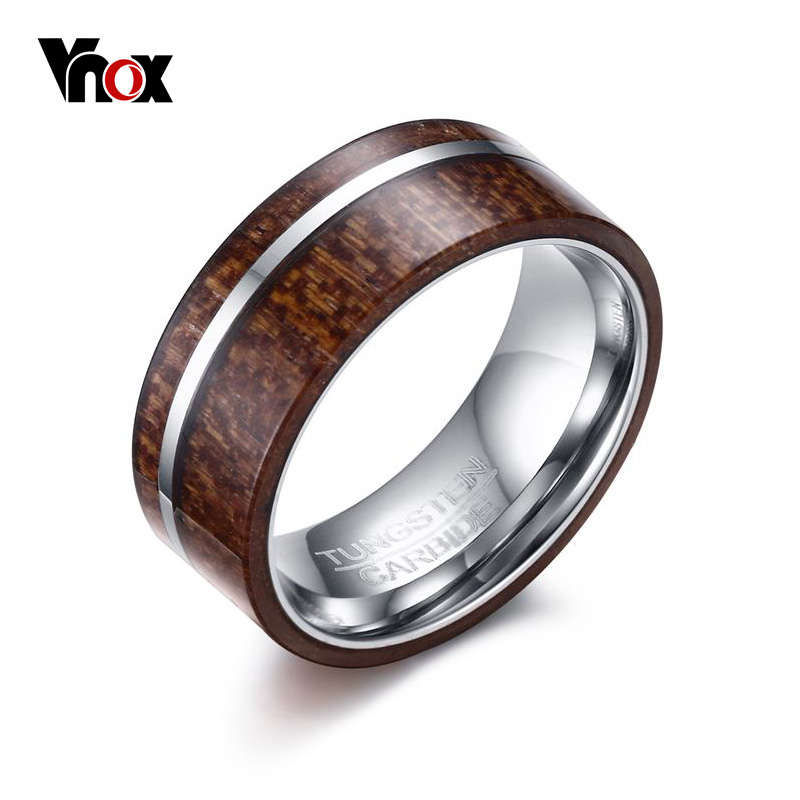 vnox mens wood engagement ring 8mm tungsten carbide male ring rock wedding bands high polished finish - Wood Wedding Rings For Men
