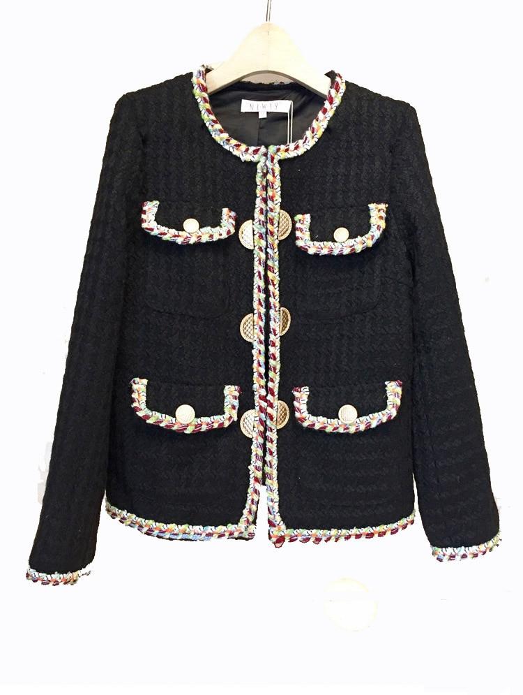 2018 Automne Hiver Vintage Tweed Vestes Femmes Court De Laine Blanc Manteaux Femme Coréenne Streetwear Mince Chaud Outwear Coupe-Vent