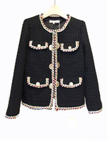 2018 Autumn Winter Vintage Tweed Jackets Women Short Woolen White Coats Female Korean Streetwear Slim Warm Outwear Windbreaker