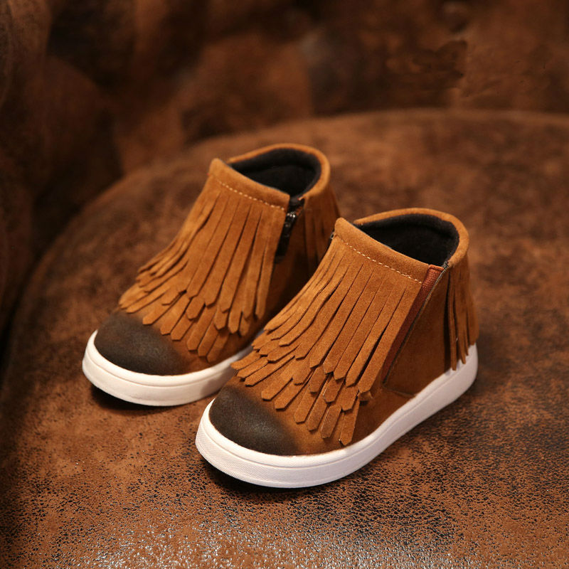 Boots Girls Fringe Boot For Childrens New British Tassel Kids Brown Gray Boots High Quality Boot For Childrens Non-slip