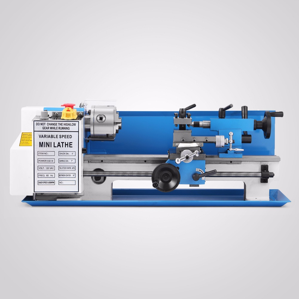 Metal gears 350mm processing distance Mini Metal Lathe Metalworking Variable Speed Tooling Infinite 550W mini lathe