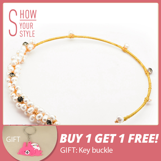 GLSEEVO Natural Fresh Water Baroque Pearl Choker Necklace Gifts For Women Shell
