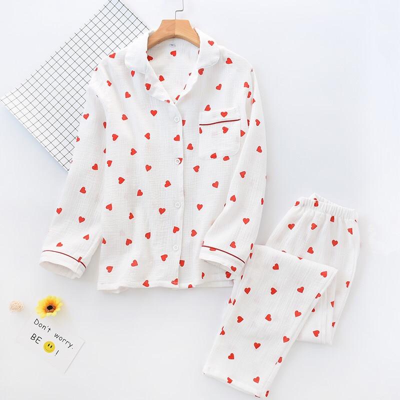 Image 3 - 春の新女性パジャマセットハートプリントクレープ綿二層ガーゼターンダウン襟長袖ズボンの世帯着用パジャマセット   -