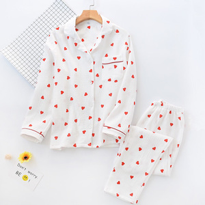 Image 3 - Spring New Ladies Pajamas Set Heart Printed Crepe Cotton Double layer Gauze Turn down Collar Long sleeve Trousers Household Wear