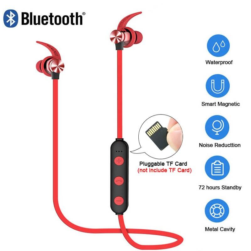 XT22 Sport Wireless Bluetooth Kopfhörer Magnetische Anziehung Headset Wasserdichte Kopfhörer Build-in Mic Steckbare TF karte