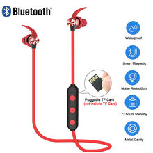 XT22 Sports Wireless Bluetooth Earphone Magnetic Attraction Headset Waterproof Earphone Build-in Mic Pluggable TF card(China)
