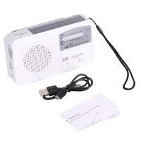 Multifunctional Solar Dynamo AAA Battery Powered AM FM Radio With Emergency LED Flashlight Siren Support Mobile