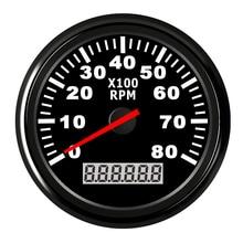 Tachymètre de bateau Tacho Marine jauge LCD sablier 8000 tr/min 85mm tachymètre de bateau 12 V/24 V rétro-éclairage rouge