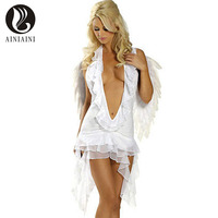 Sexy chiffon Black and white angel dress Deep v neck cleavage Halloween costumes AF160