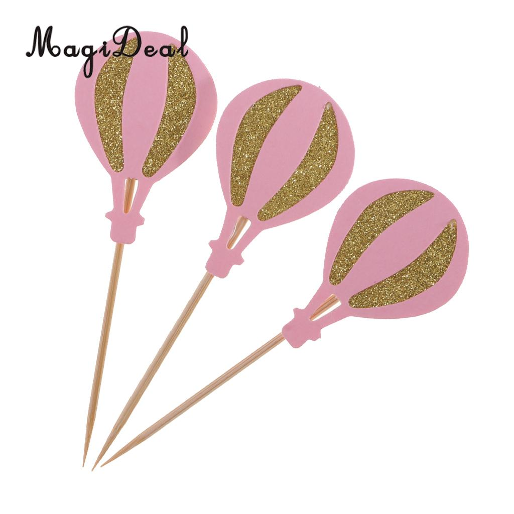 MagiDeal 3Pcs Hot Air Balloon Style Cupcake Topper Wedding Supplies ...