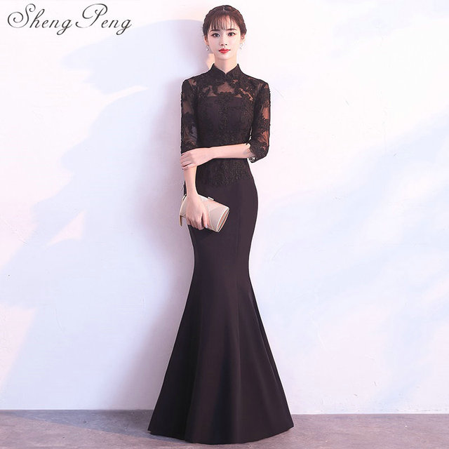 e5474b74d3 US $78.6 40% OFF|Chinese traditional dress qipao cheongsam dress oriental  evening gowns china modern chinese dress Black party lace dress CC424-in ...