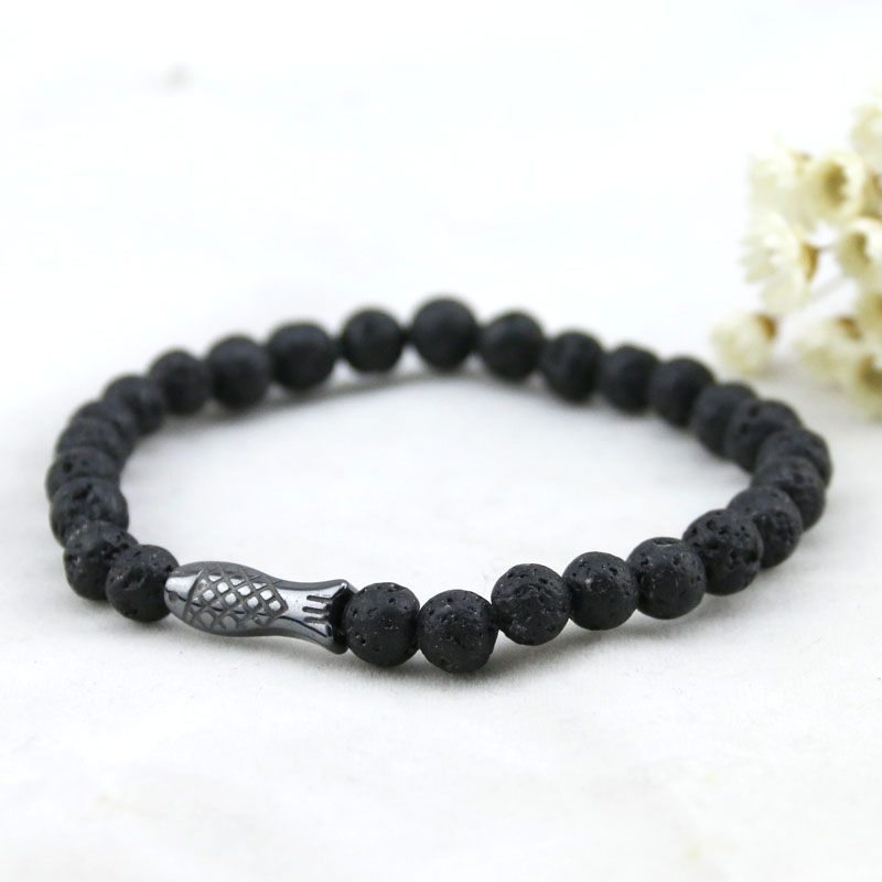 New Arrivels Adjustment Fashion Men Bracelet,Fish Pendent Black 6mm Round Bead Lava Bracelets Mens Natural Stone Bracelet Women