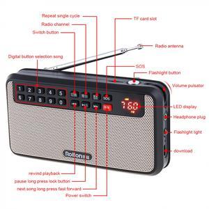 Image 4 - Rolton T60 المحمولة TF بطاقة USB صغير FM سماعات راديو صغيرة تعمل لاسلكيًا مع شاشة LED مضخم صوت مشغل موسيقى MP3/مصباح الشعلة/التحقق من المال