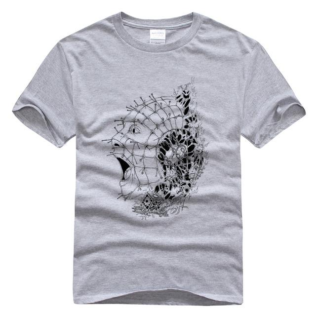 Hellraiser Pinhead T-shirt O-pescoço Casuais t-shirt de Manga Curta T-shirt dos homens Para Homens Mulheres Feliz Rosto Olá Kitty Tees Tops
