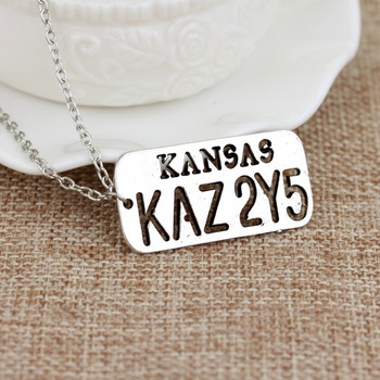 Supernatural Car Number Plate KANSAS KAZ 2Y5 Hollow Star Pendant Dean Winchester Necklace For Lover Wings Angel Wicca Jewelry image