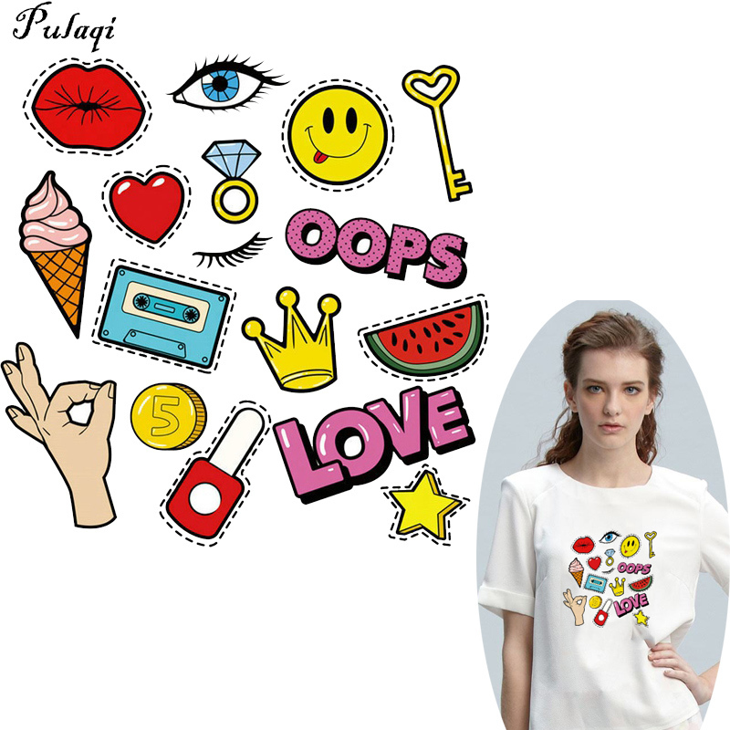 Pulaqi Ok Gesture Patches Iron-on Transfers For Clothing Lip Letter Badges DIY Jeans Sticker Washable Clothes Iron on Applique H