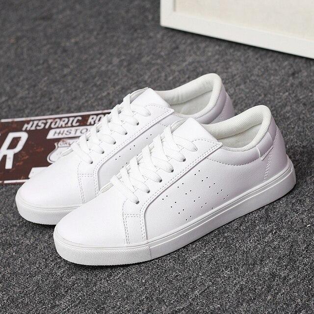 4e59b0669 Mwsc moda hombres chaussure zapatos blancos ocasionales unisex de la pu  pisos con zapatillas deportivas mujer